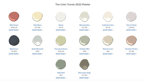 Benjamin Moore COTY 2022 Palette