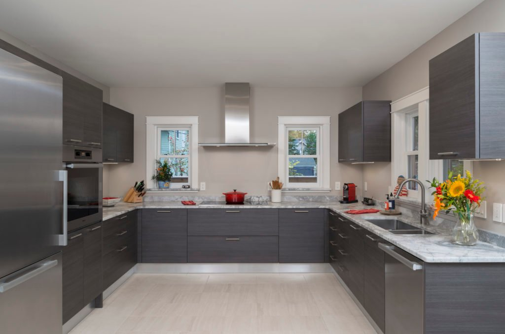 Grey kitchen with accessible design features