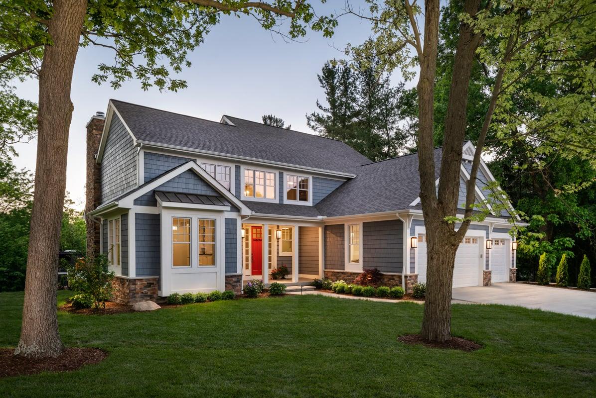 Exterior-blue-house, red-door,