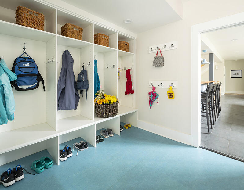 lockers and cubbies in mudroom