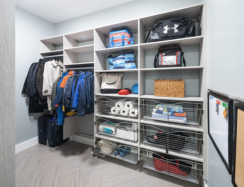 mudroom flooring and cabinets