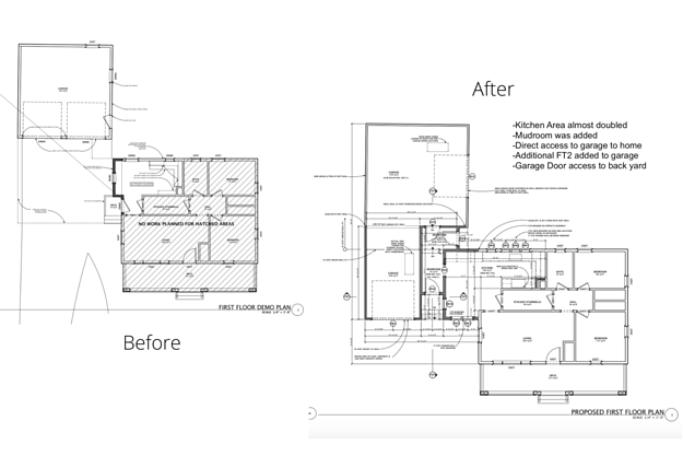 Before and after floor plans of the renovation