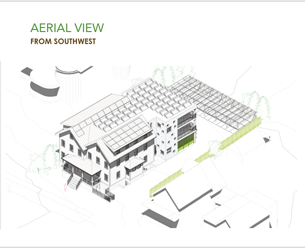 Aerial rendering of the net-zero residence