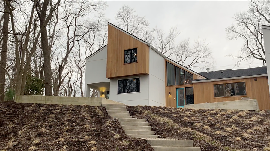 The after photo of complete exterior transformation of a contemporary home