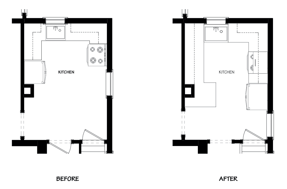 Before and After floorpan of small kitchen remodel
