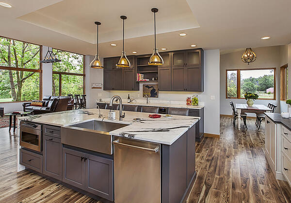 Custom Home Kitchen that melds contemporary design with rustic undertones