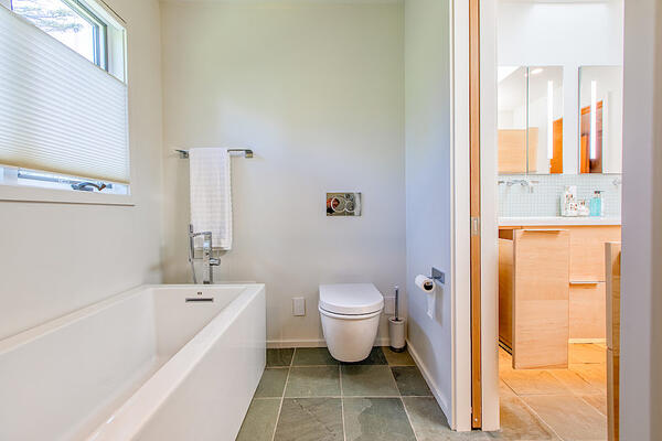 Photo of wall mounted toilet with hidden tank