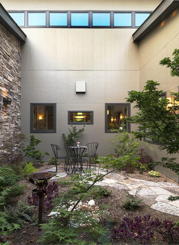 photo of interior courtyard feature on a Meadowlark custom home