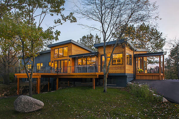 Photo of Front Exterior Elevation of a Contemporary Meets Modern Custom Meadowlark Home