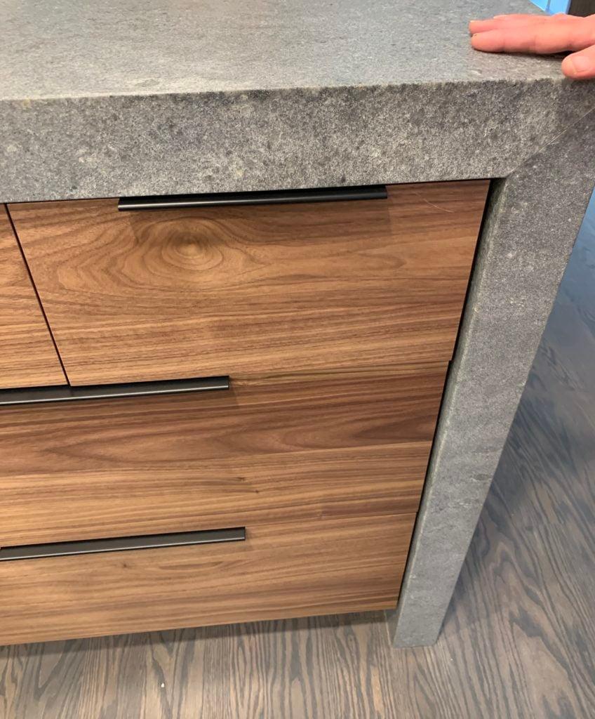 Slab front Cabinets in kitchen remodel