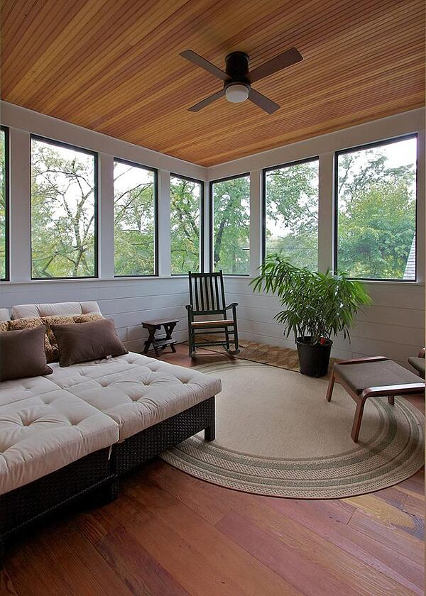 Photo of sleeping porch in a Meadowlark Home