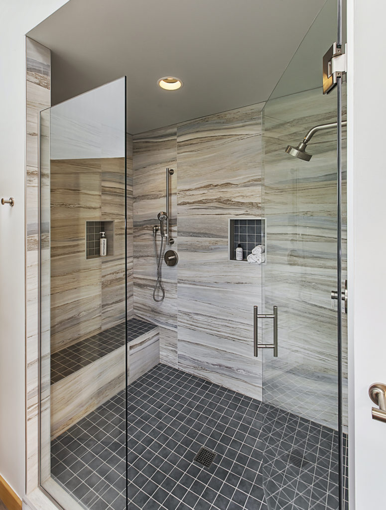 Master Shower with Large Format Wall Tiles and two shower heads