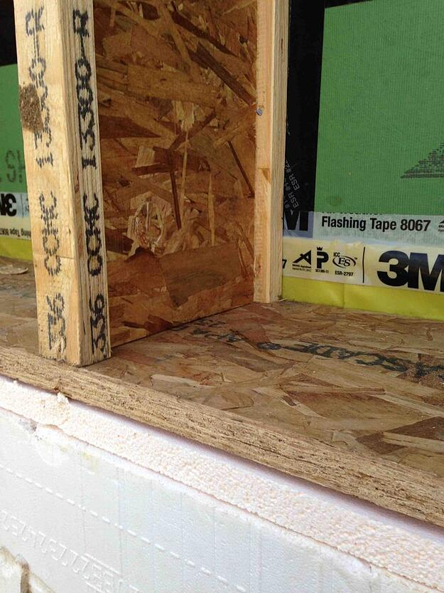 photo of passive house exterior wall structure