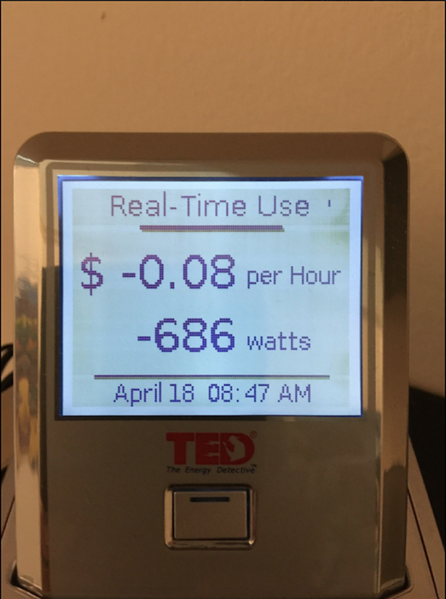 Photo of The Energy Detector device installed at Meadowlark Builders
