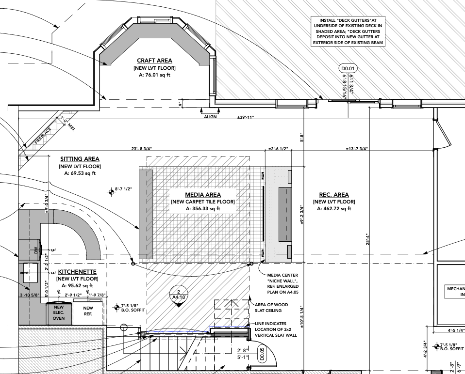 Designated zones for each function in a large open basement plan