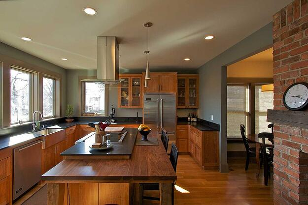 Kitchen with custom cabinets in LEED Platinum Home