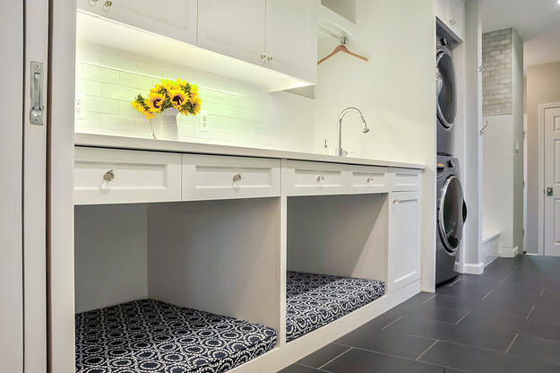 Laundry Room Renovation with cubbies for Dogs