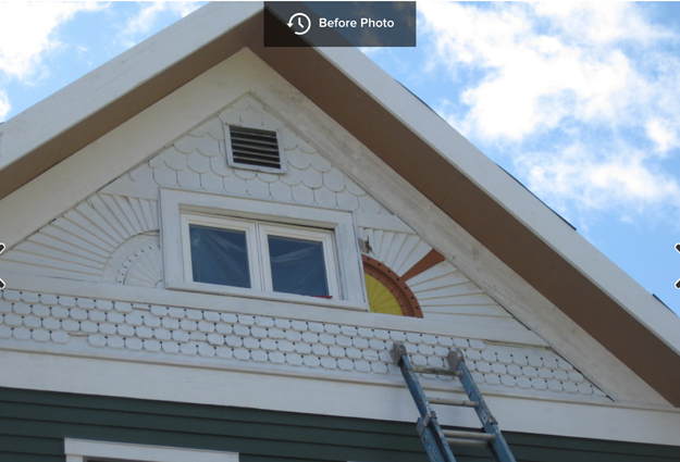 Testing colors on the sunburst detail on the victorian home