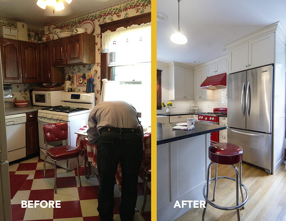 Before and After Photo of Small Kitchen Remodel in Historic Home