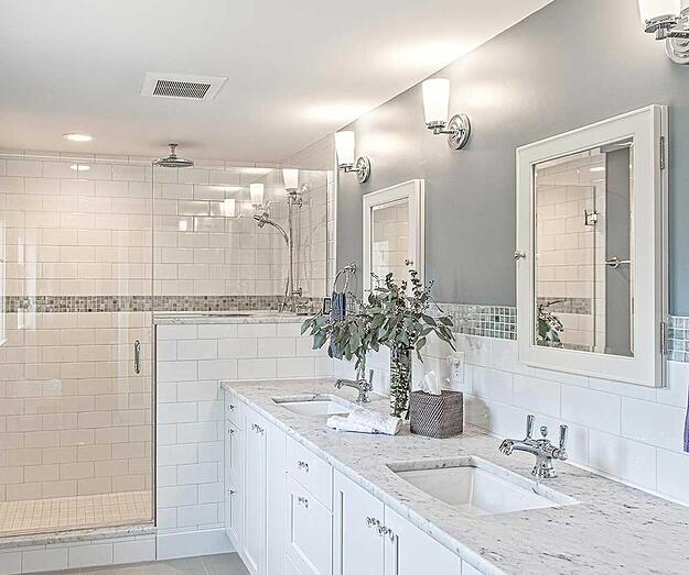 Bathroom. White Tile, Double Vanity, Walk In Shower.
