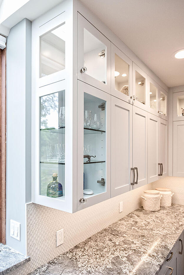 Glass cabinets used in kitchen remodel