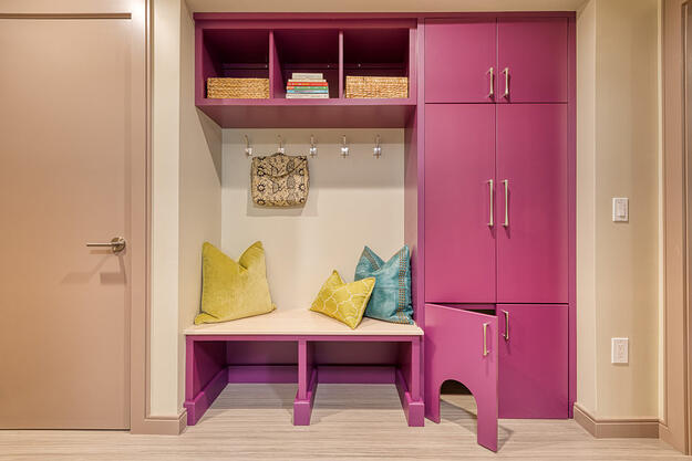 Laundry mud room with custom cabinets for cats