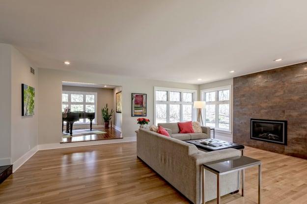 open floor concept living room