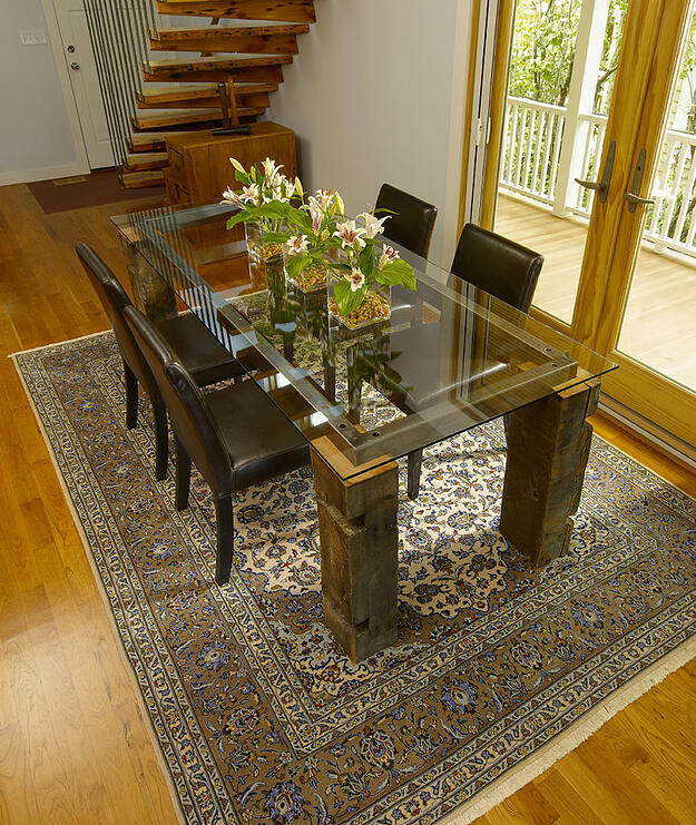 reclaimed barn wood used for the legs in this custom dining table