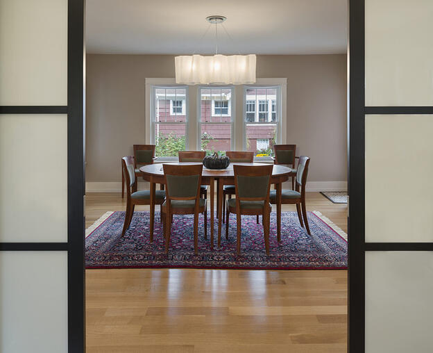 dining room with sliding doors
