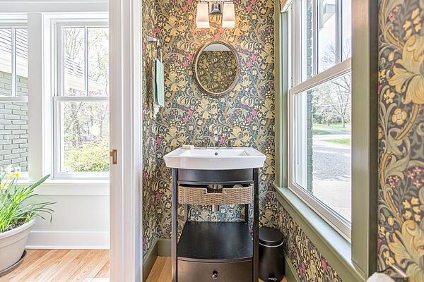 meadowlark wall paper bathroom