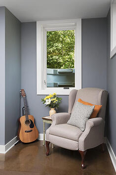 reading nook with guitar